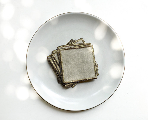 Coaster Seoul set of 4 (BlackGold) Linen Tablecloth